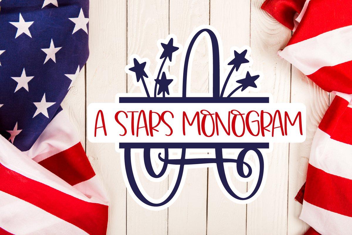 A Stars Split American Monogram Font example image 1