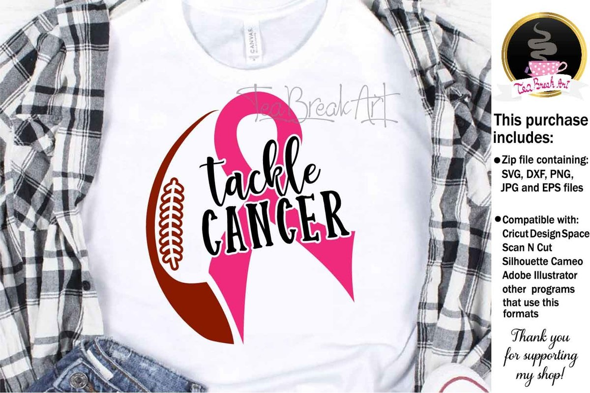 Tackle Cancer Breast Cancer Awareness Cutting Files 1070 example image 1