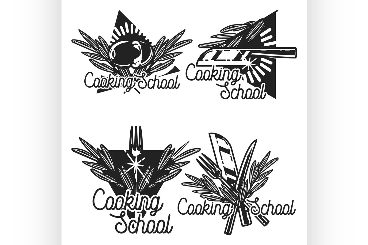 Color vintage cooking school emblems example image 1