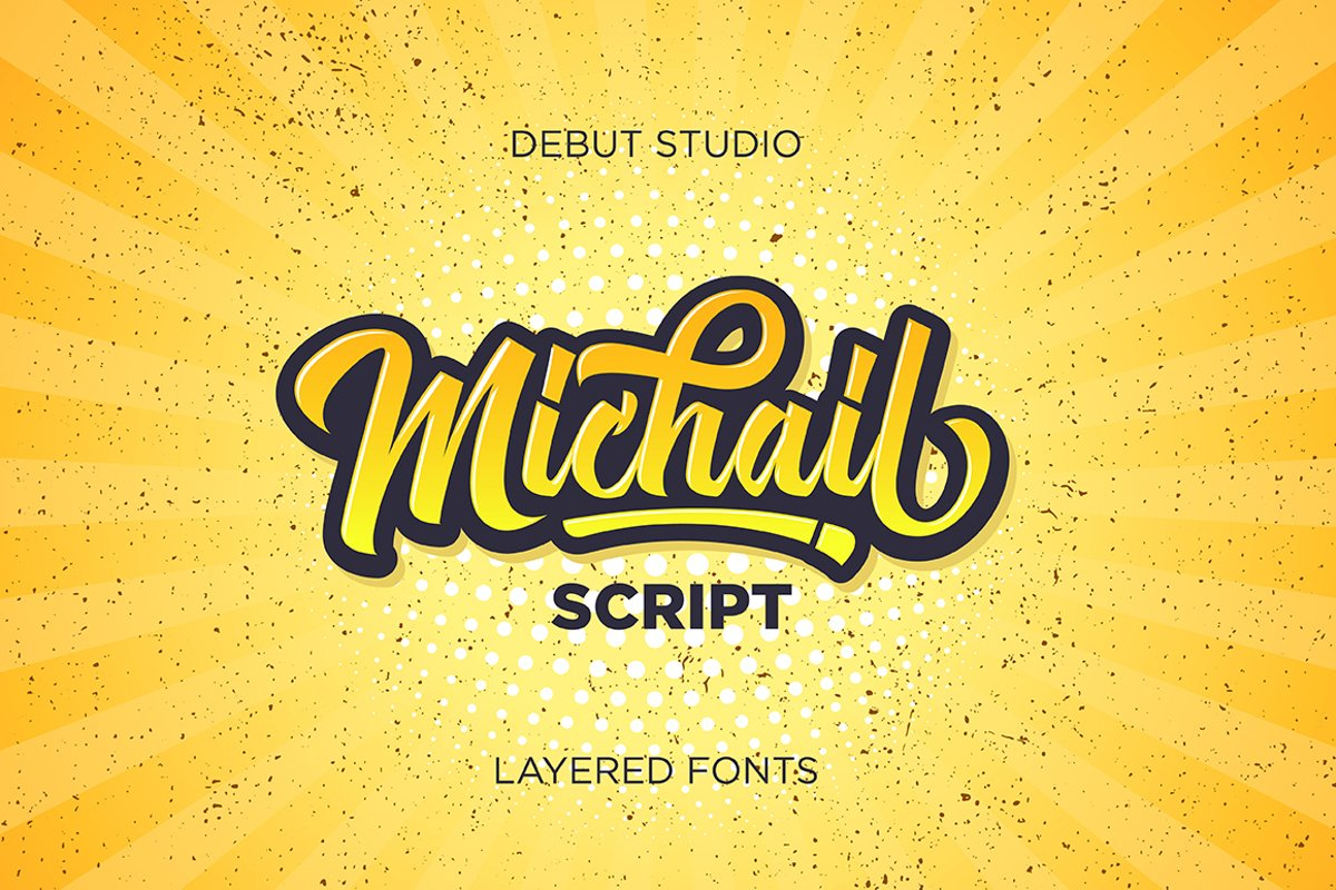 Michail Script - Layered Fonts example image 1