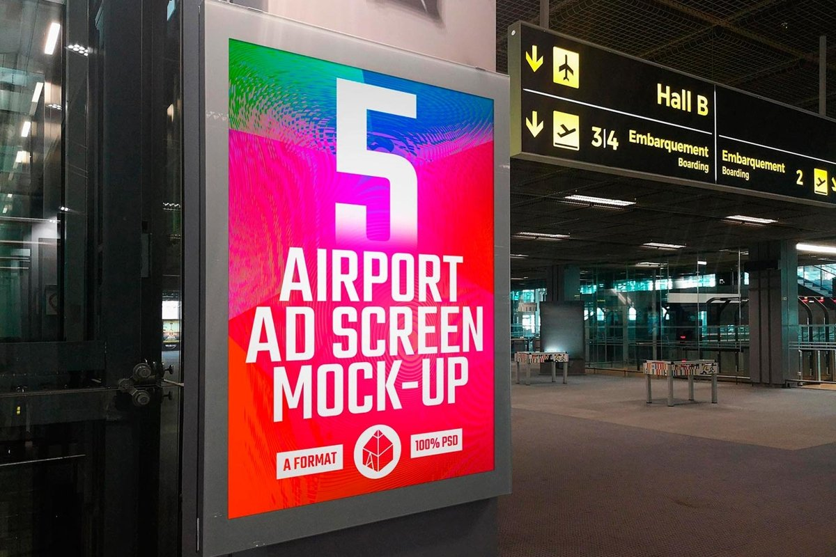 Airport Poster Screen Mock-Ups 10 example image 1