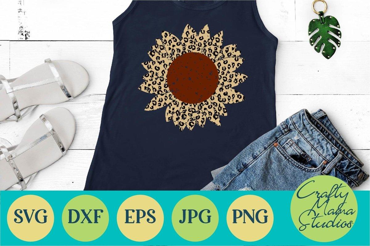 Download Sunflower Svg, Leopard Print Grunge Sunflower Svg, Summer ...