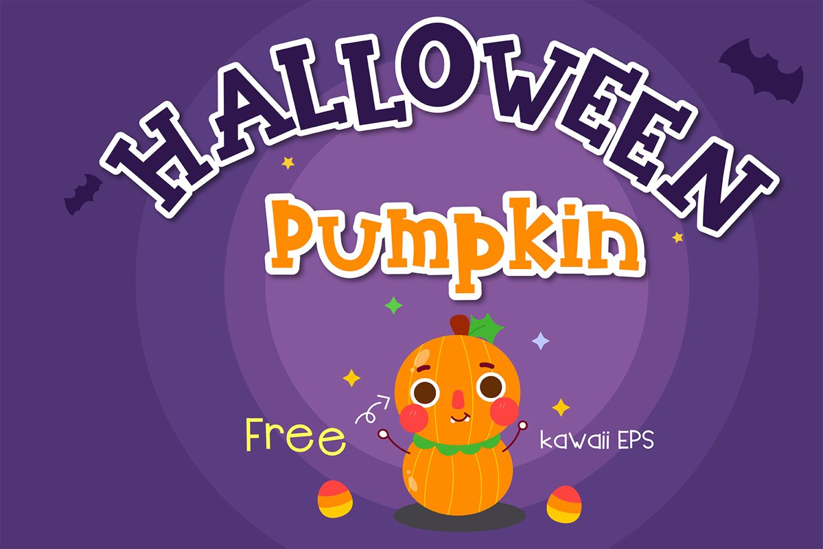 Halloween pumpkin Handwritten - cute kid font Kawaii style! example image 1