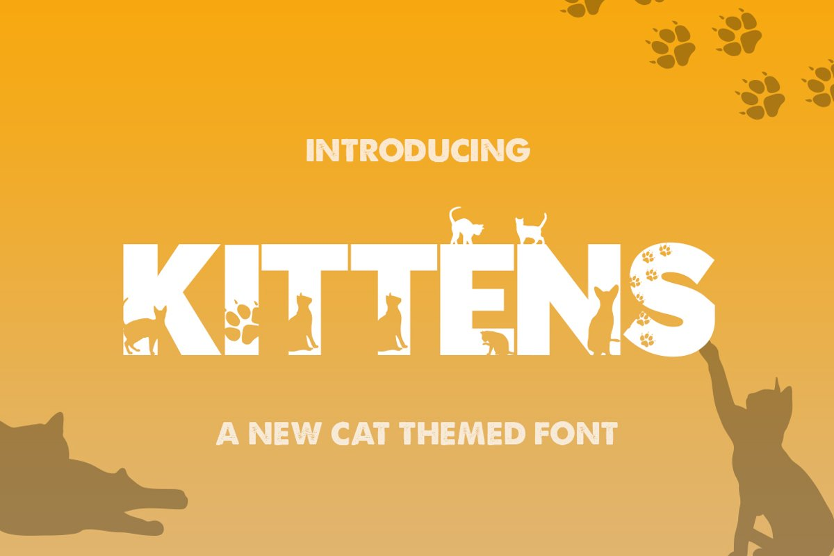 Kittens Silhouette Font example image 1