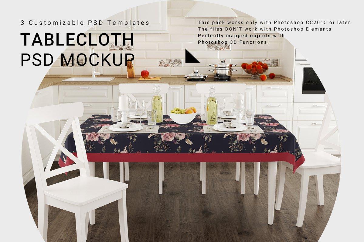 Kitchen Tablecloth 3D Mockup Set example image 1