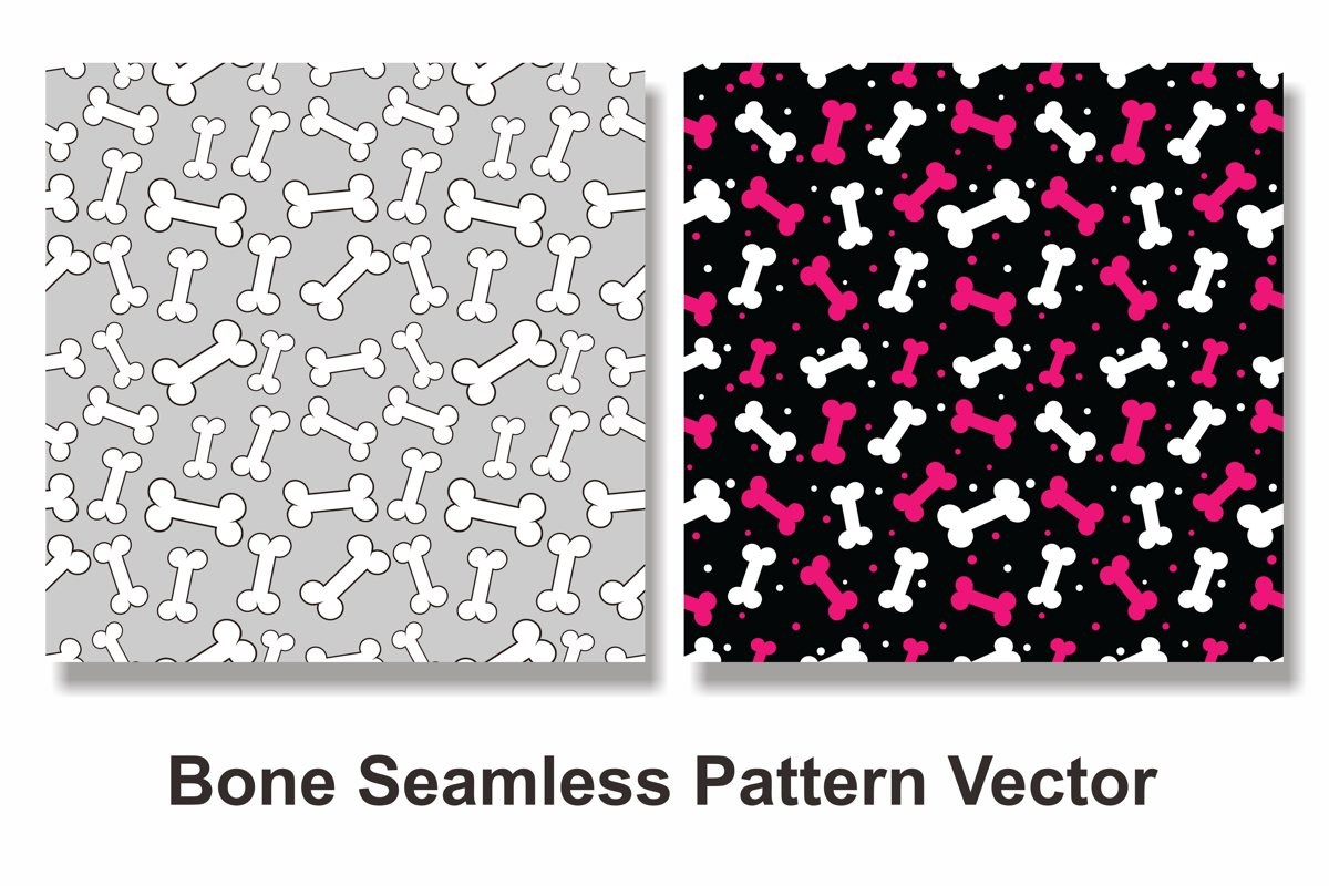 Set Of Bone Seamless Pattern Vector example image 1