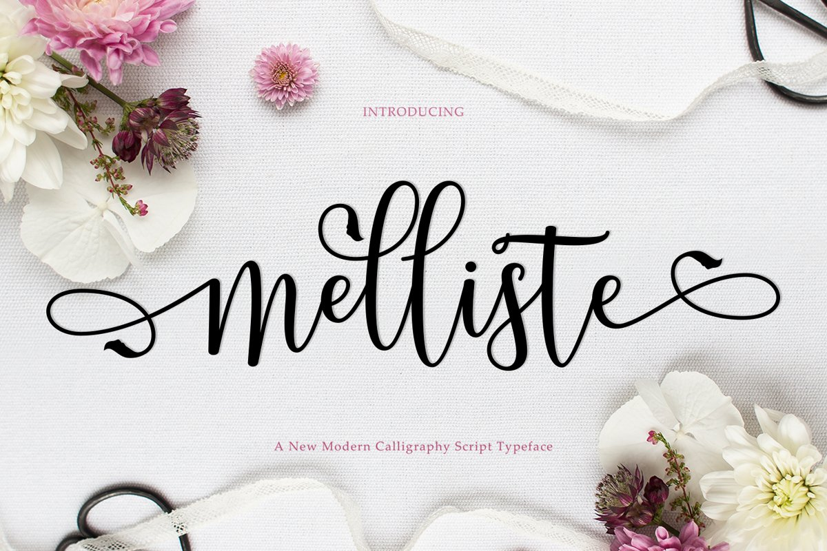 Melliste Script   A Font Love Story example image 1