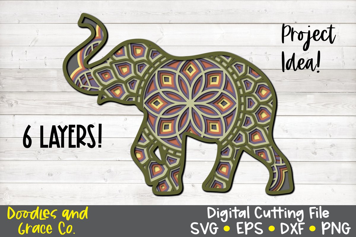 3D Layered Elephant Mandala - SVG - PNG - EPS - DXF example image 1
