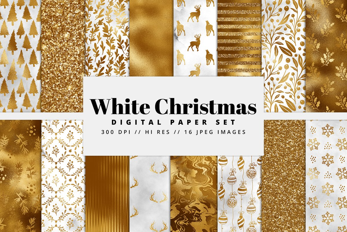 White Christmas Digital Paper Pack example image 1
