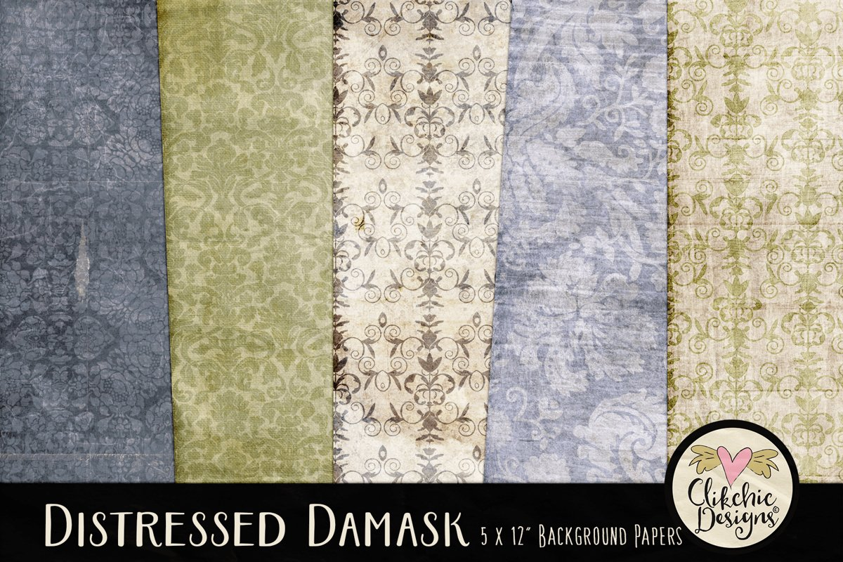 Damask Paper Backgrounds - Grunge Texture Digital Papers example image 1
