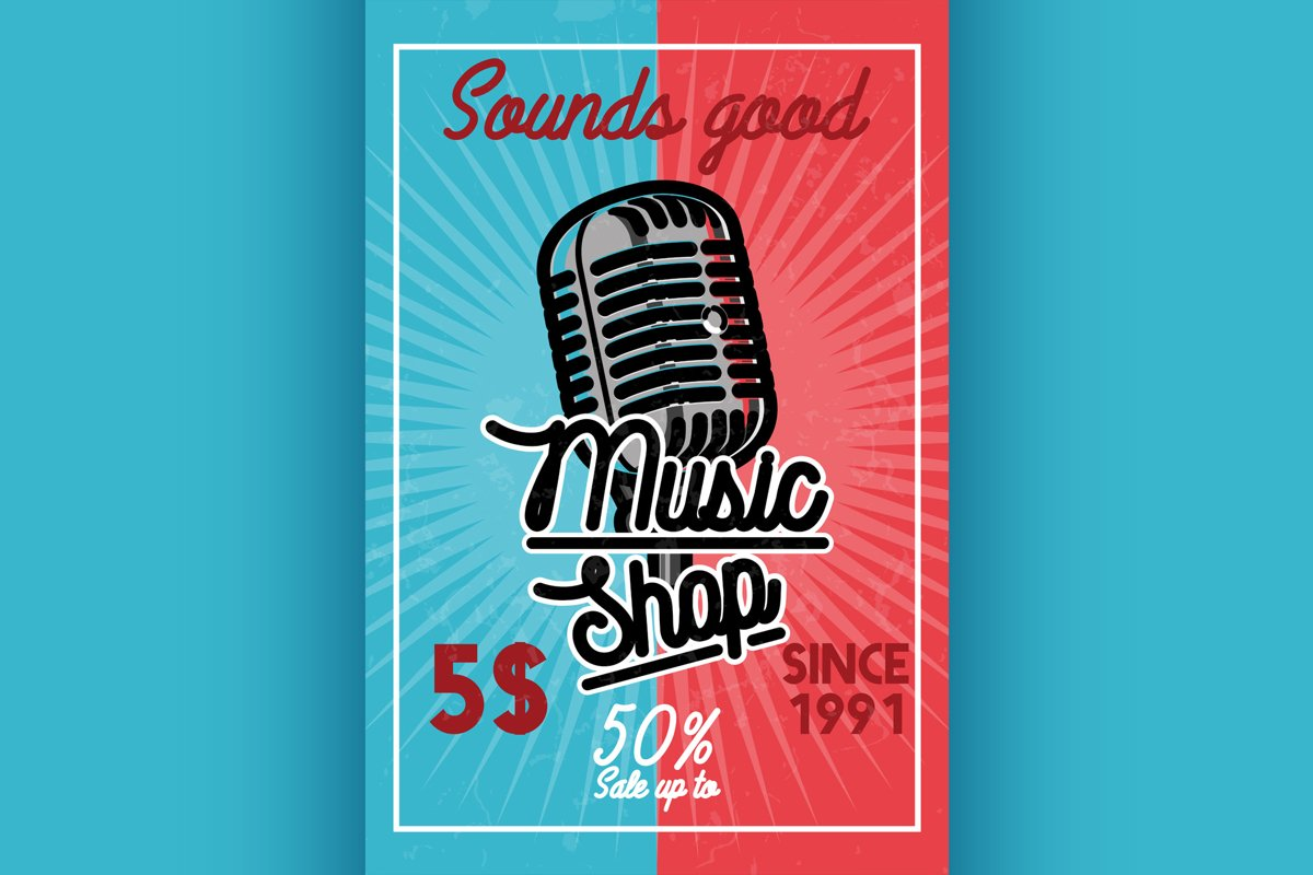 Color vintage music shop banner example image 1