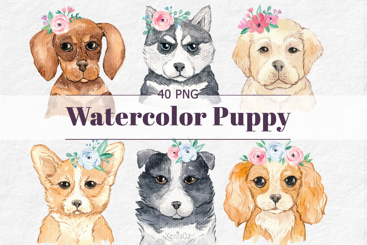 Watercolor Puppies and Flowers Clipart, Dog Lover, PNG example image 1