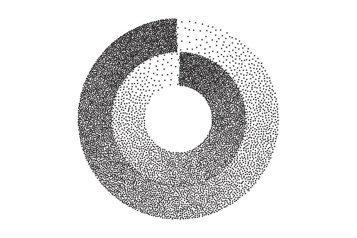Abstract Geometric Shape Vector. Black Dotted Round Circle. example image 1