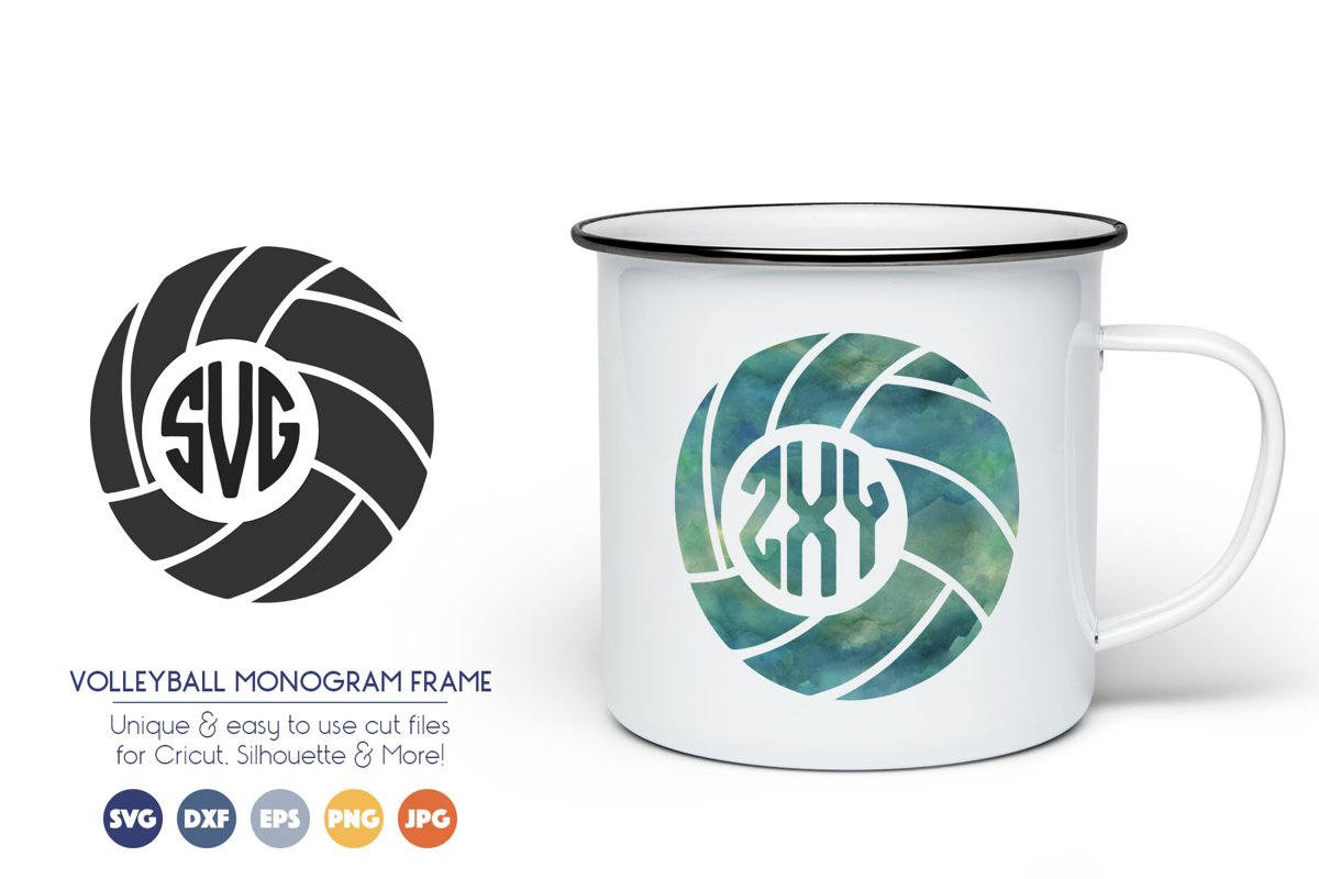 Volleyball Monogram Frame SVG Cut Files example image 1