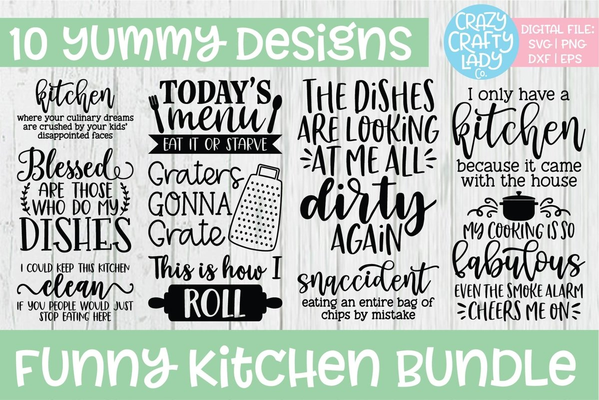 Funny Kitchen SVG DXF EPS PNG Cut File Bundle example image 1