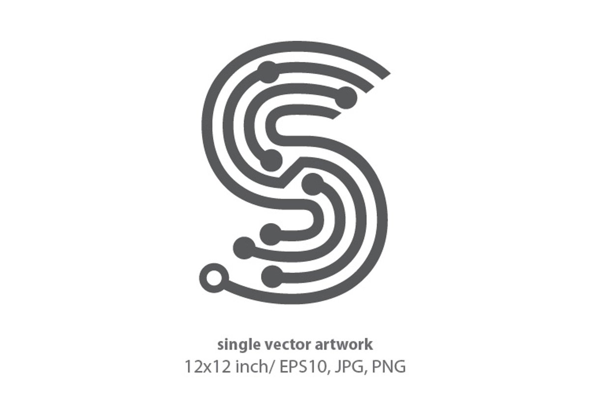digital letter s- single vector artwork example image 1