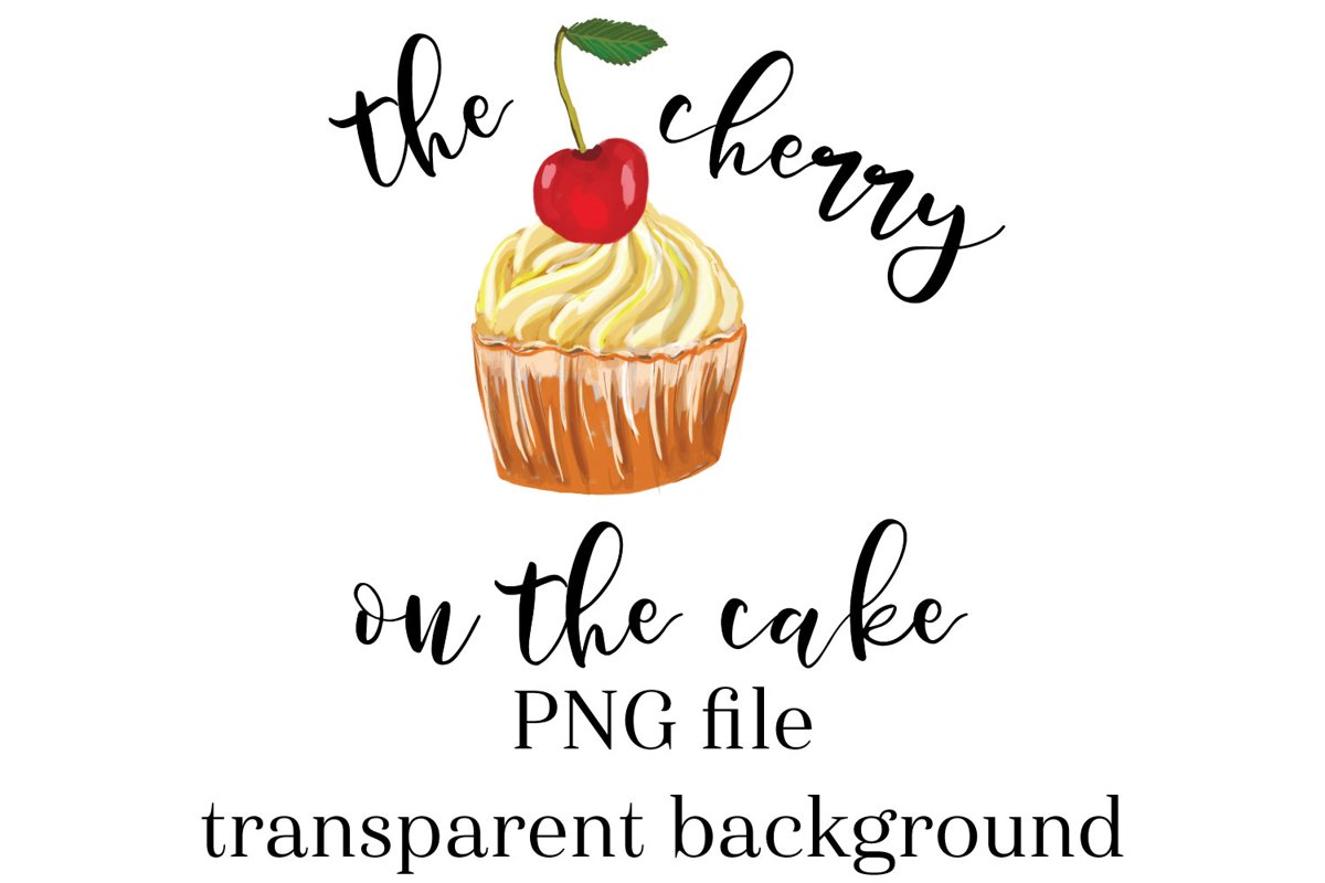 Cherry cake sublimation design, cupcake clipart, cupcake PNG example image 1