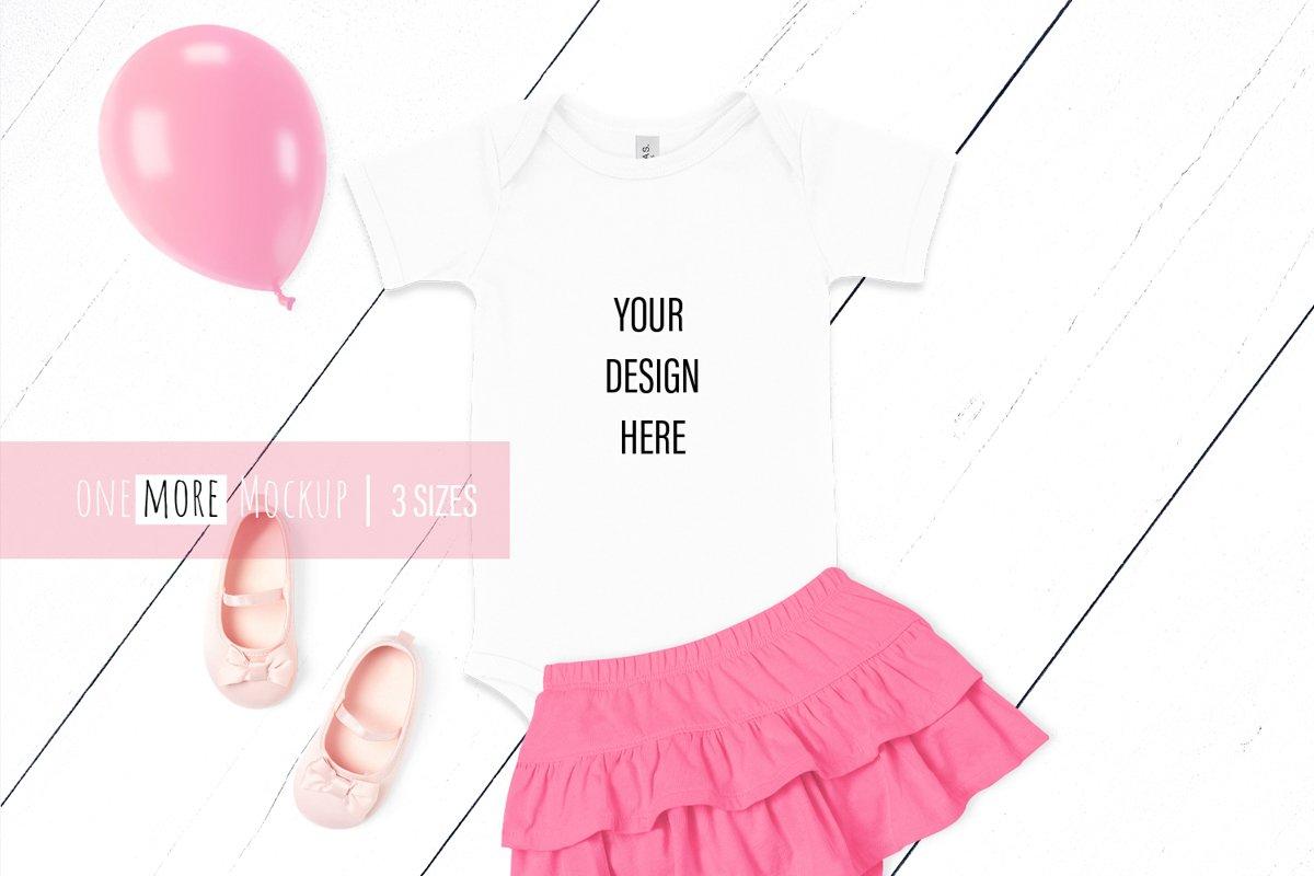 Baby Bodysuit Mockup I Bella Canvas 100B White example image 1