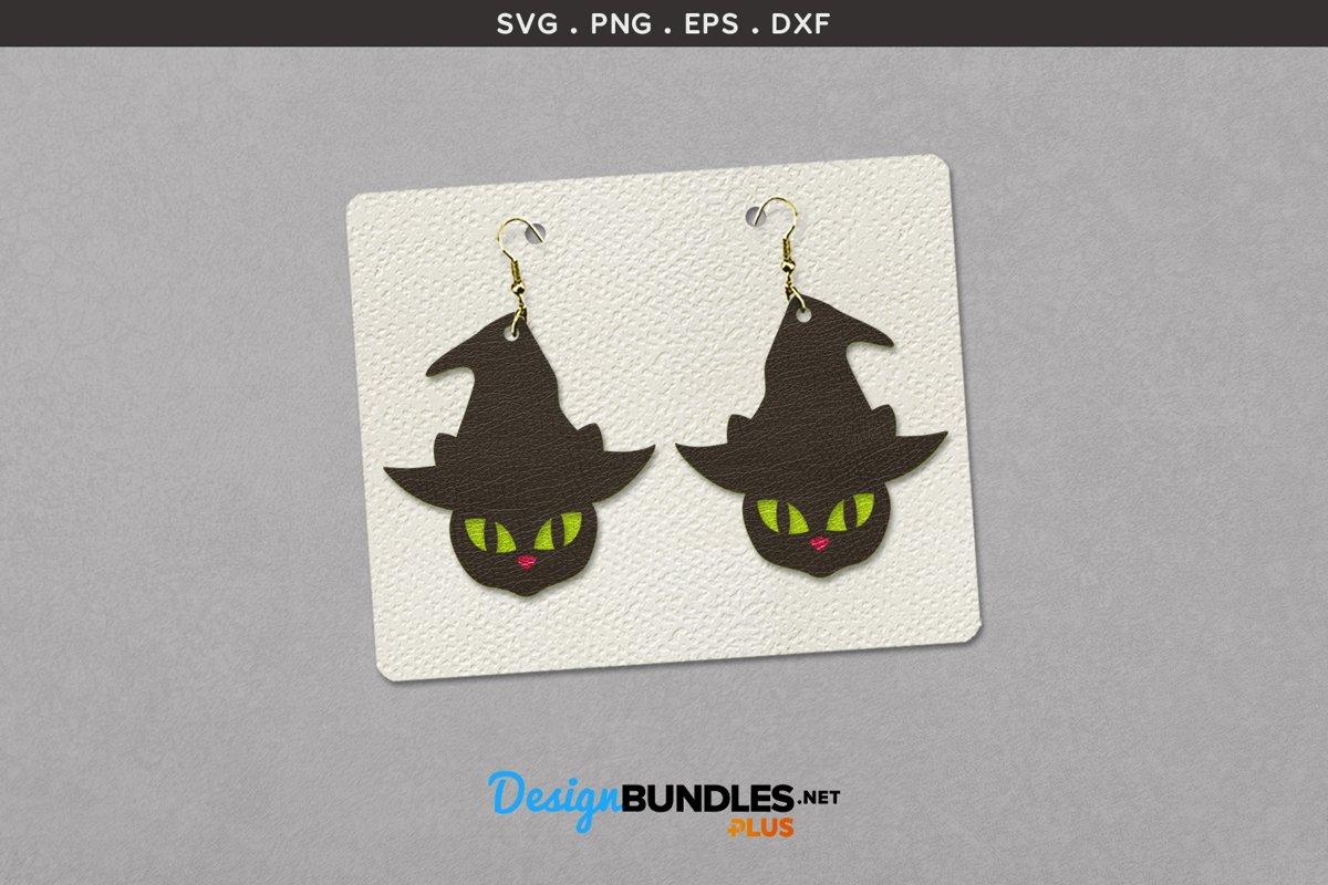 Halloween Earrings Template | Black cat's glowing eyes example image 1