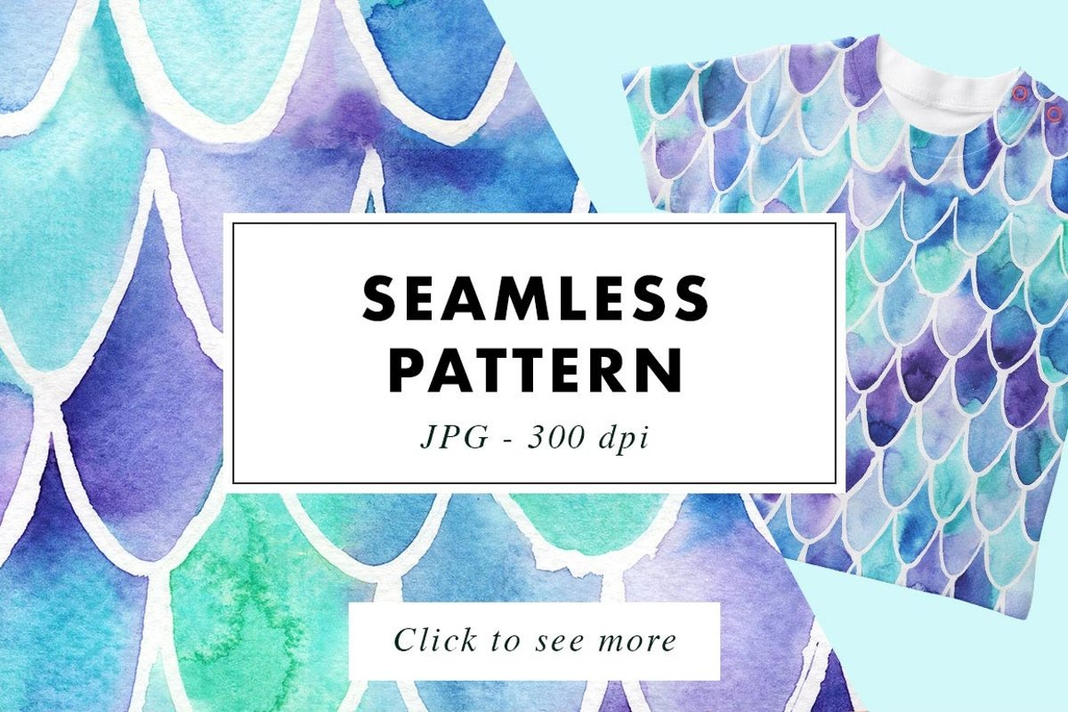 Mermaid Scales | Seamless Watercolor Print Pattern example image 1