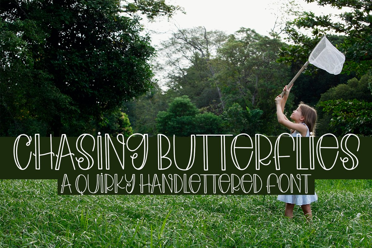 Chasing Butterflies - A Quirky Hand-Lettered Font example image 1