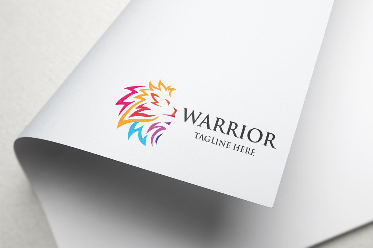 Warrior Lion Letter W Logo example image 1