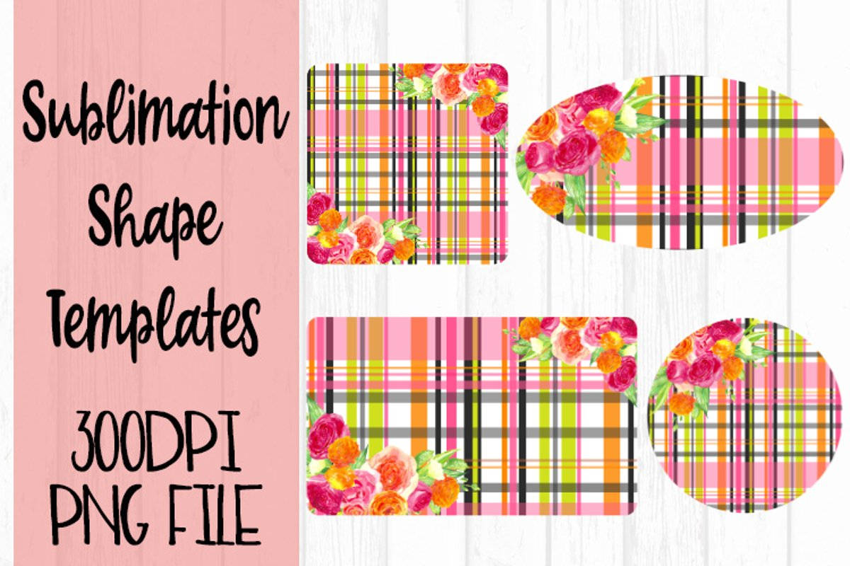 Spring Plaid with Flowers Sublimation Templates example image 1