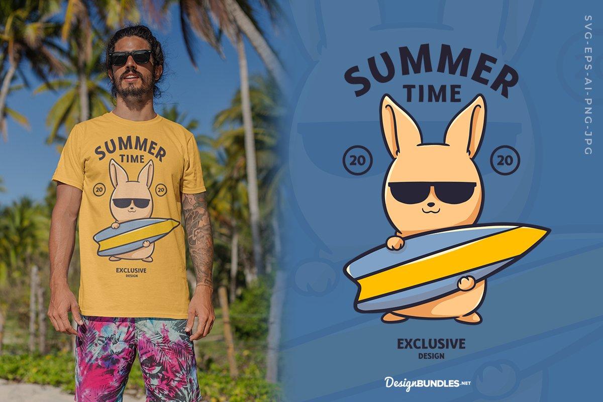 Summer, Rabbit Surfing T-Shirt Design example image 1