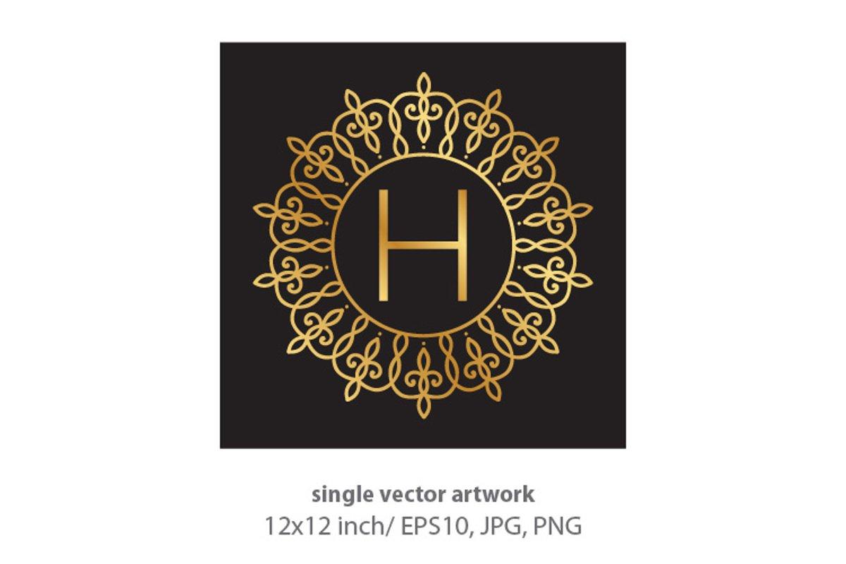 Letter h, inside luxury frame example image 1