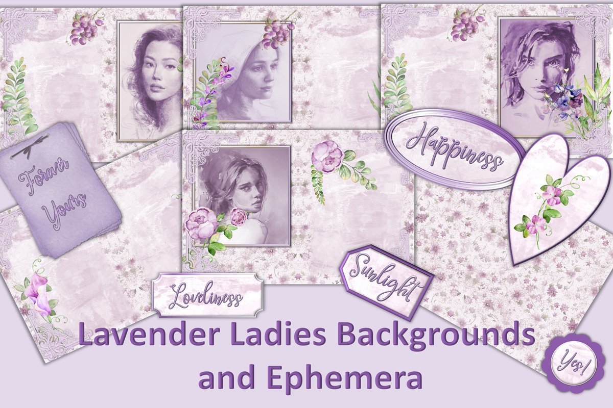 Water colour Lavender Ladies Backgrounds and Clipart example image 1