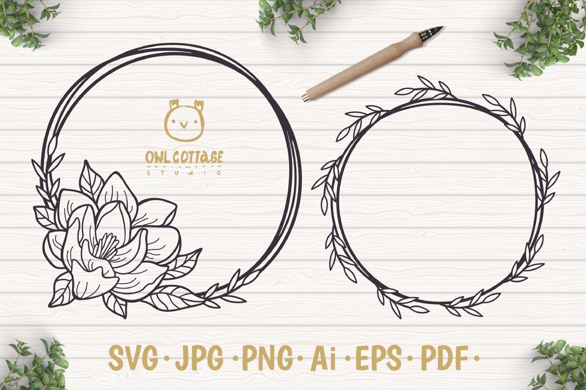 Magnolia Wreath SVG, Flower Monogram cut file, Wedding Flowe example image 1