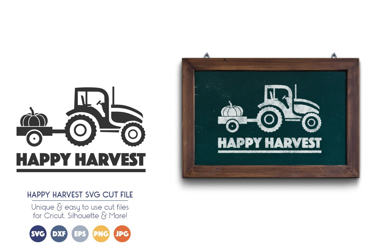 Happy Harvest - Pumpkin and Tractor SVG Files example image 1