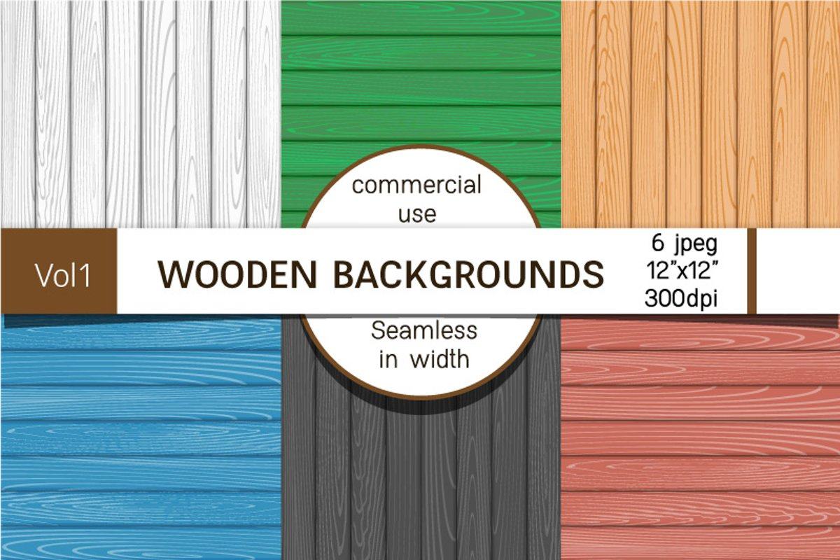 Backgrounds with wooden boards, digital paper example image 1