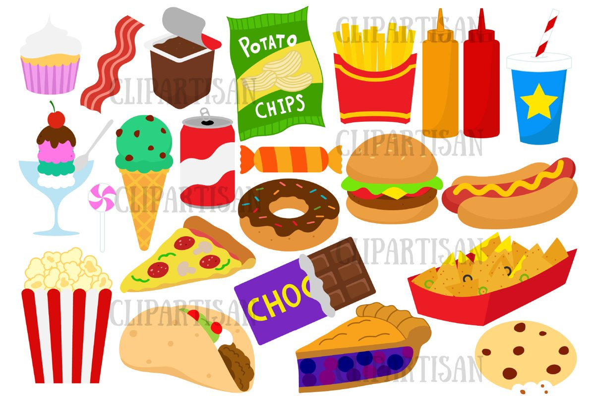Junk Food clip Art, Fast Food Clipart, Hamburger, Pizza ...