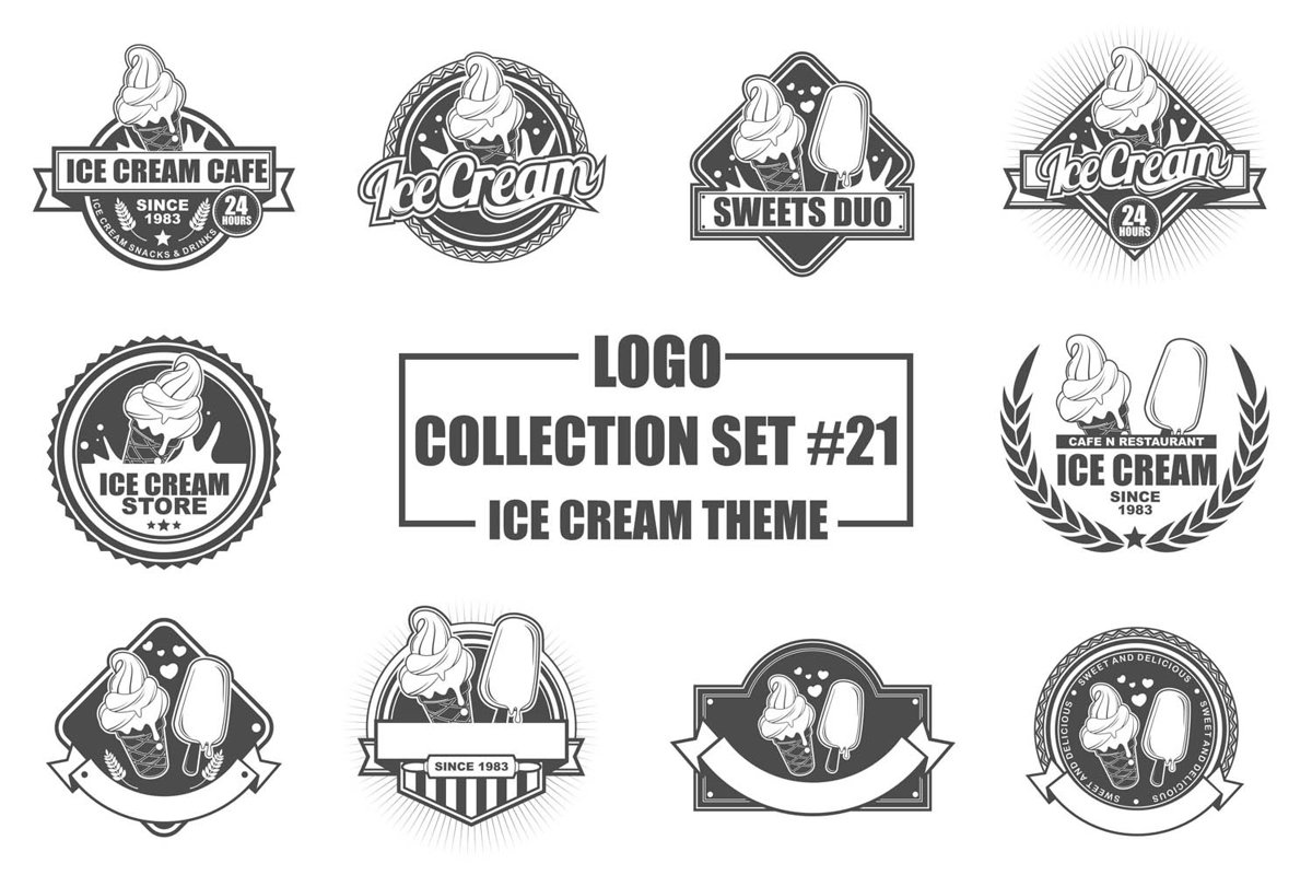 Logo Collection Set with Ice Cream Theme example image 1