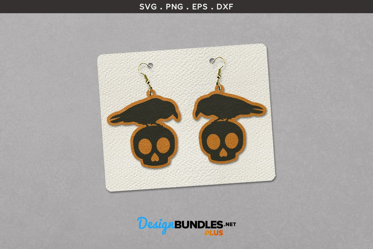 Halloween Earrings Template | Crow on Skull example image 1
