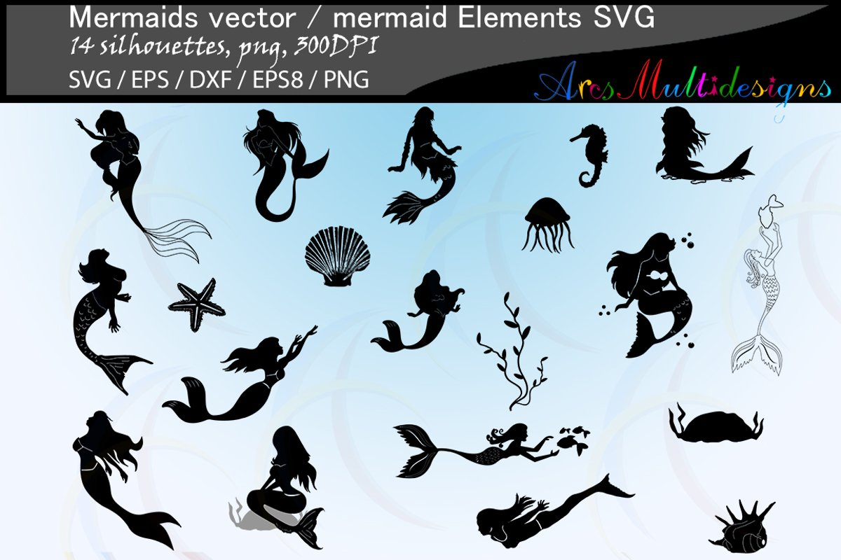 Mermaid silhouette / water girls / High Quality / beauty girl silhouette / mermaid vector / mermaid vector / EPS / PNG / SVG / DXf / mermaid elements example image 1