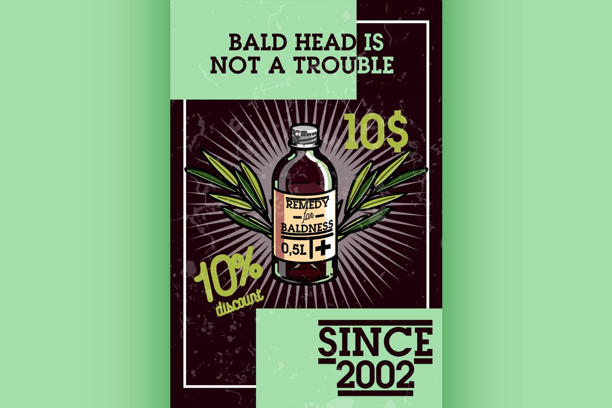 Color vintage remedy for baldness banner example image 1