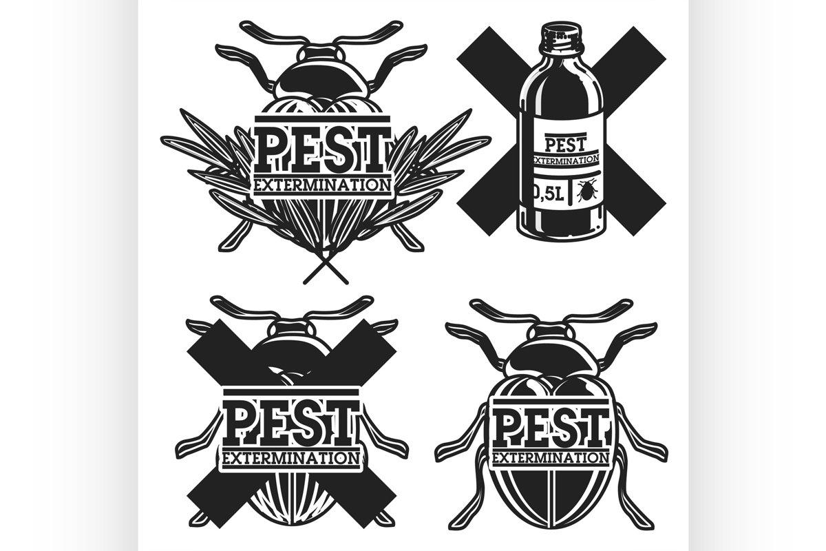 Color vintage pest extermination emblems example image 1