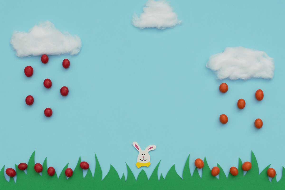 White cotton clouds with rain of small Easter eggs example image 1