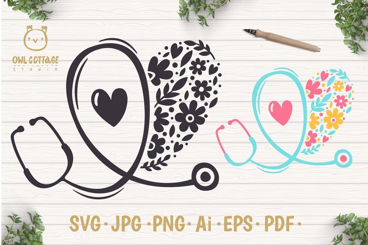 Floral Stethoscope SVG, Nurse Floral SVG, Nurse Tattoo example image 1