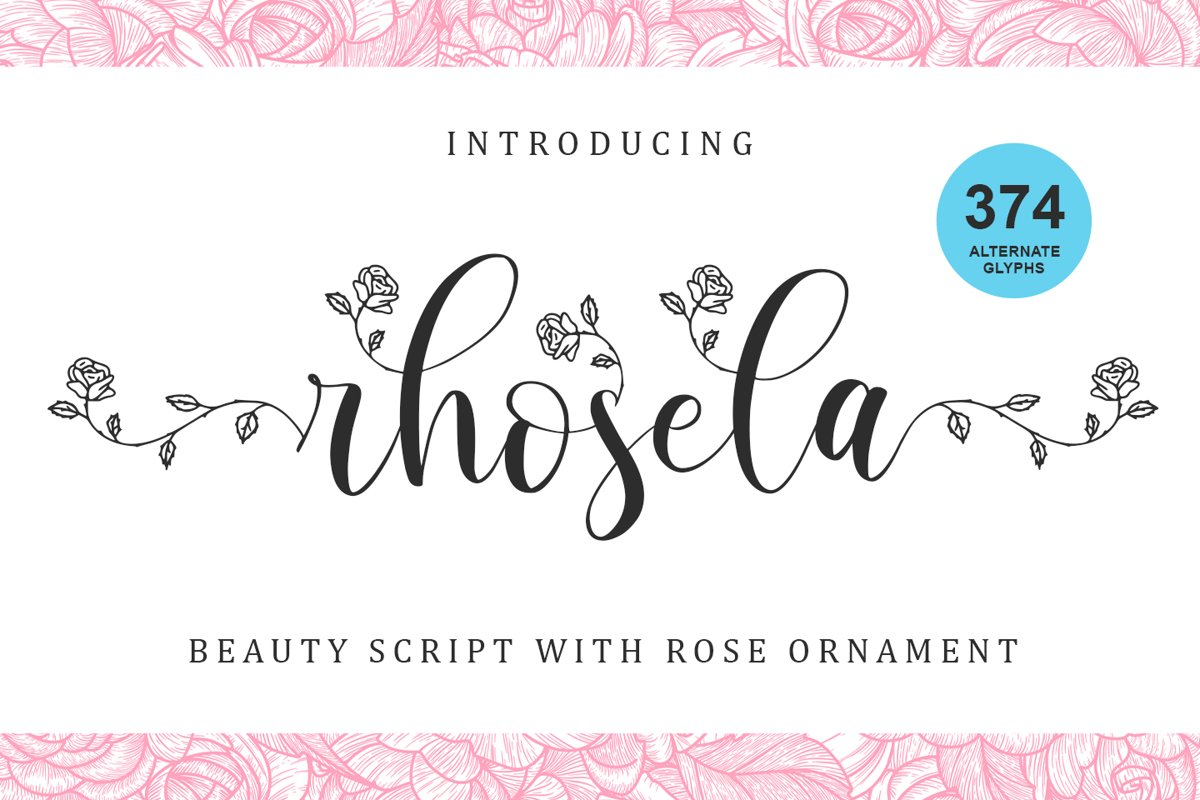 Rhosela -Floral Calligraphy- example image 1