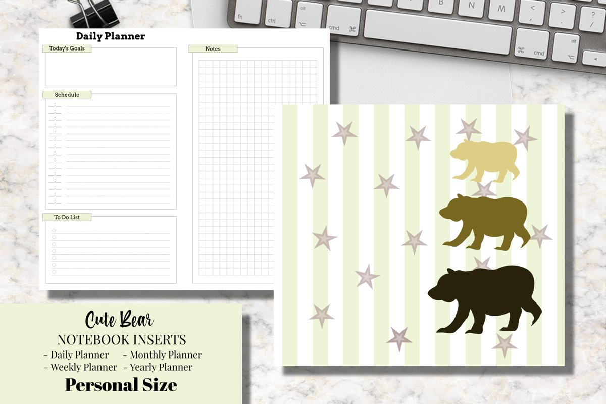 Cute Bear Personal Size Notebook Inserts Digital Planner example image 1