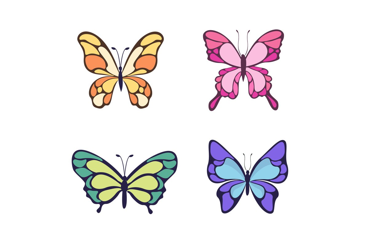 Flat Beautiful Butterfly Collection example image 1