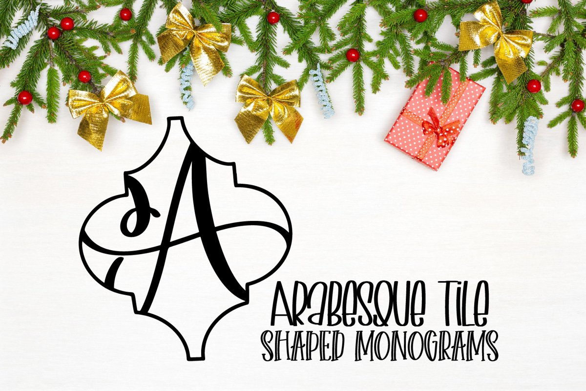 Arabesque Tile Monogram Font - A-Z Lettered Frames example image 1