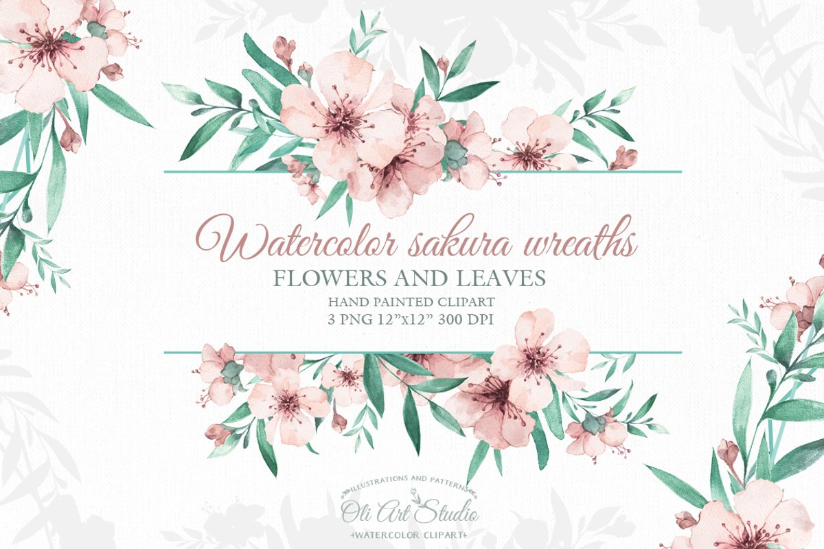 Watercolor sakura wreaths example image 1