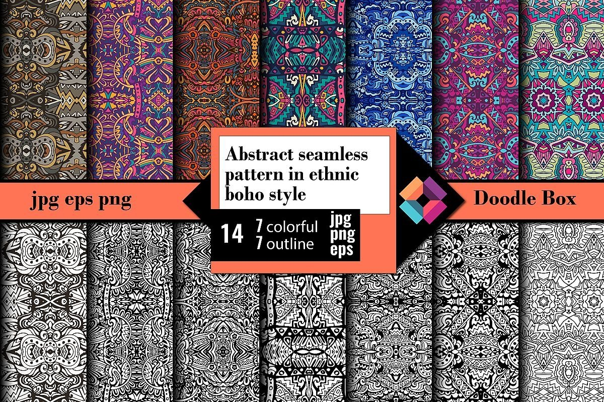 Abstract seamless pattern in ethnic boho style example image 1