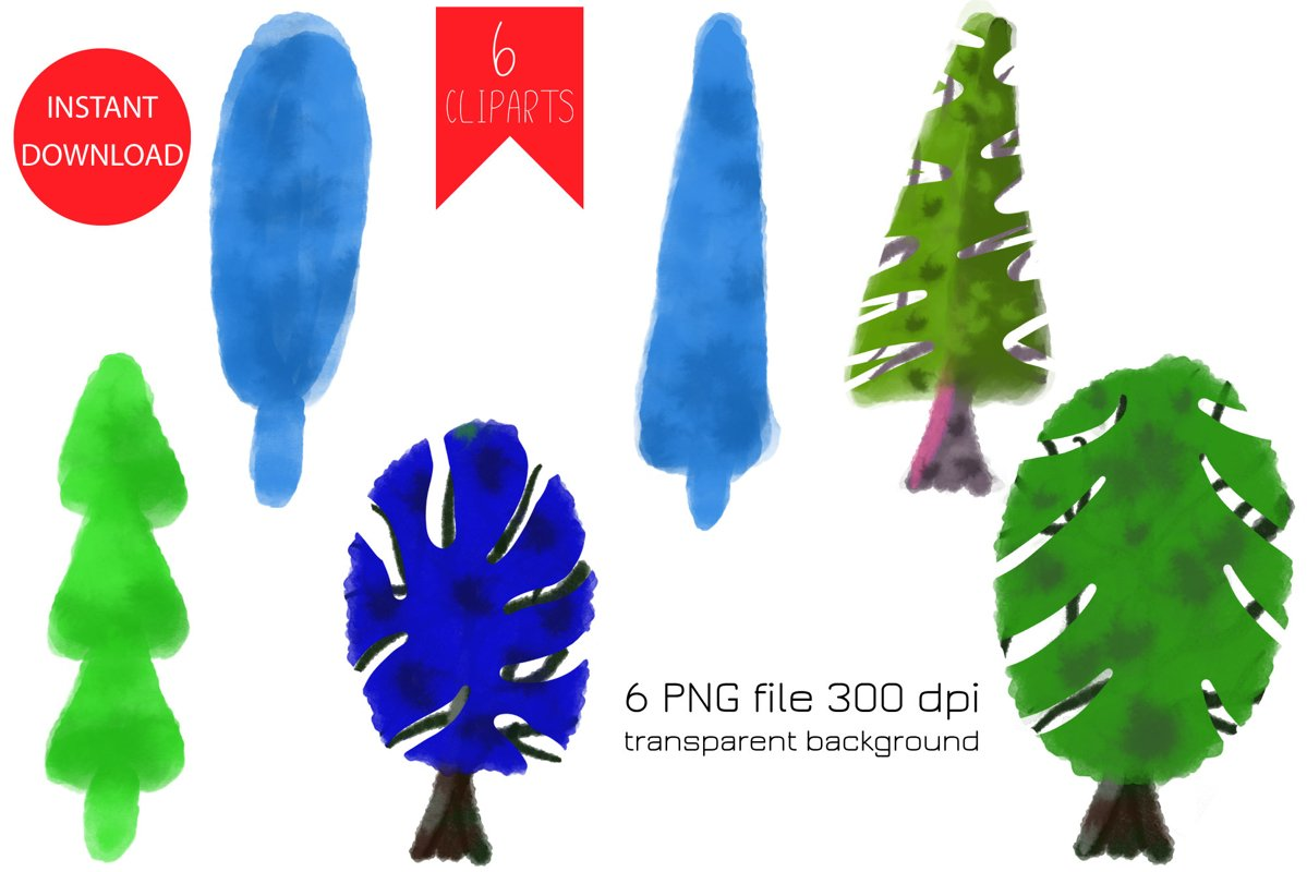 Watercolor Christmas Tree PNG Clipart example image 1