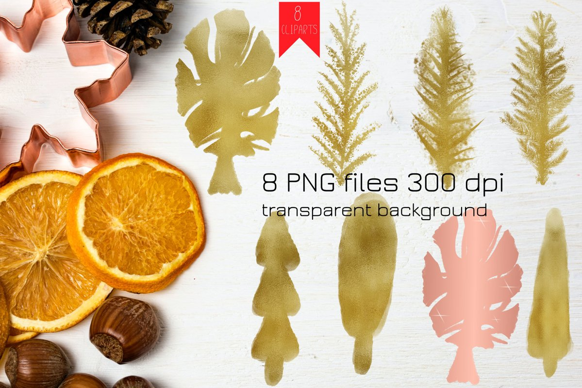 Gold Christmas Tree PNG Clipart example image 1
