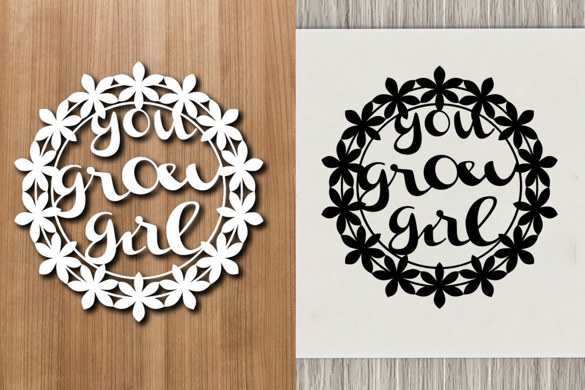 You Grow Girl Paper Template Cut file example image 1